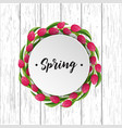 spring greeting card with blooming tulip vector image