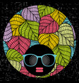 abstract portrait of dark skin woman in hipster vector image