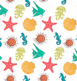 Seamless sea pattern with colorful marine vector image