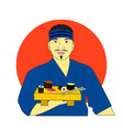 smiling asian chef with sushi with japan flag back vector image