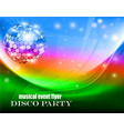 a music flyer about a disco party with waves vector image vector image