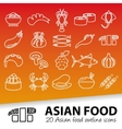 asian food outline icons vector image