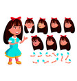 asian girl child kid face emotions vector image vector image