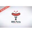 bbq and food logo outdoor kitchen or meat vector image vector image