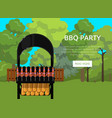 bbq party poster with meats on barbecue vector image vector image