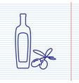 black olives branch with olive oil bottle sign vector image vector image