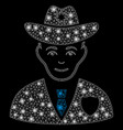 bright mesh network sheriff with flare spots vector image vector image