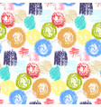 bright pattern with grunge squares and circles vector image vector image