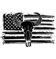 bull skull silhouette with american flag