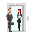 Business people in office building elevator vector image vector image