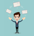 cheerful business man with big envelope vector image vector image