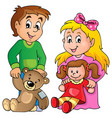 children with toys theme image 1 vector image vector image