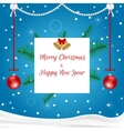 Christmas card blue with hanging red balls white vector image
