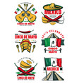 cinco de mayo retro sketch mexican icons vector image vector image