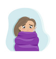 cold girl wrapped herself in a blanket vector image vector image