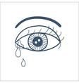 Crying eye with tears isolated on white vector image