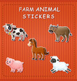 cute cartoon farm animals on sticker vector image vector image