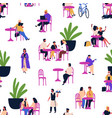 different people relaxing at outdoor cafe sitting vector image vector image