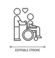 disabled people help linear icon volunteer vector image vector image