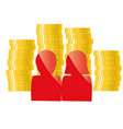 family icon with golden coins banking credit vector image vector image