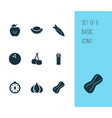food icons set with peanut lychees tomato slice vector image