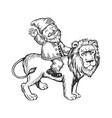 gnome on lion engraving vector image vector image