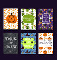 halloween party cards pumpkin ghost holiday vector image vector image