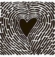 hand drawing heart in the form of a fingerprint vector image vector image