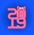 happy new year - greeting card with pink pig and vector image
