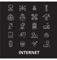internet editable line icons set on black vector image vector image