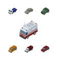 isometric automobile set of lorry autobus car vector image vector image