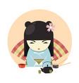 japanese geisha character in kimono clothing and vector image vector image
