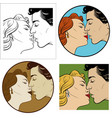 kiss of a man and a woman vector image