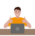 man sitting working at a laptop cartoon vector image