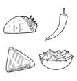 mexican food icon set design vector image