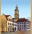 pedestrian street in the old european city vector image vector image