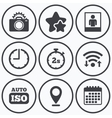 Photo camera icon Flash light and Auto ISO vector image vector image