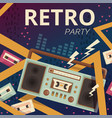 retro radio poster typography design camera music vector image vector image