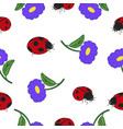 set of ladybugs and flowers vector image