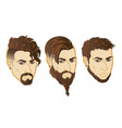 set of men face hipster head with haircuts vector image