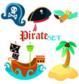 set of pirate objects vector image