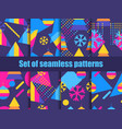 set of seamless pattern memphis with snowflakes vector image vector image