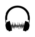 silhouette headphone with sound wave vector image vector image