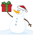 snowman holding a christmas gift vector image vector image