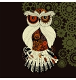 Steampunk outline owl with gear Metallic vector image vector image