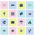 sun icons set with air conditioning tent ball vector image vector image