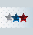 three stars with american flag background vector image vector image