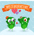 Valentines Day greeting card with two cute green vector image