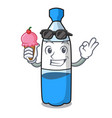 with ice cream water bottle character cartoon vector image