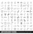 100 ecology icons set outline style vector image vector image